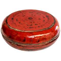 Antique Chinese Red Lacquered Round Box, All Original