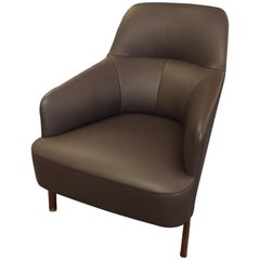 Wittmann Mono Brown Leather Lounge Armchair