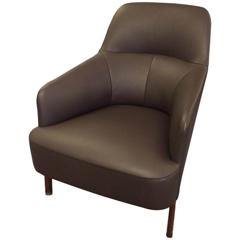 Wittmann Mono Brown Leather Lounge Armchair For Sale