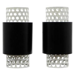 Black and White Modernist Tubular Sconces in the Manner of Mategot