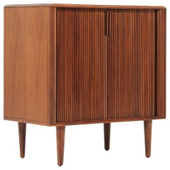 Mid-Century Modern Tambour-Door Walnut Cabinet by Barzilay