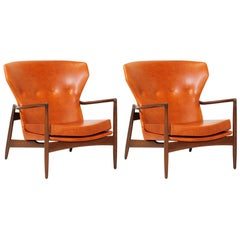 Ib Kofod-Larsen Leather Wing Back Lounge Chairs Chairs for Selig