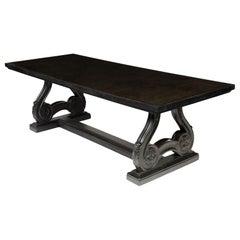 Stylish Ebonised Oak Table, Black Mirror Top French circa 1940, Lyre Design