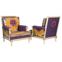 Pair of White and Gilt Decorated Louis XVI Style Armchairs, French, Uzbek