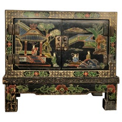 Chinese Hand Painted Small Cabinet, Chest on Stand, 20th Century