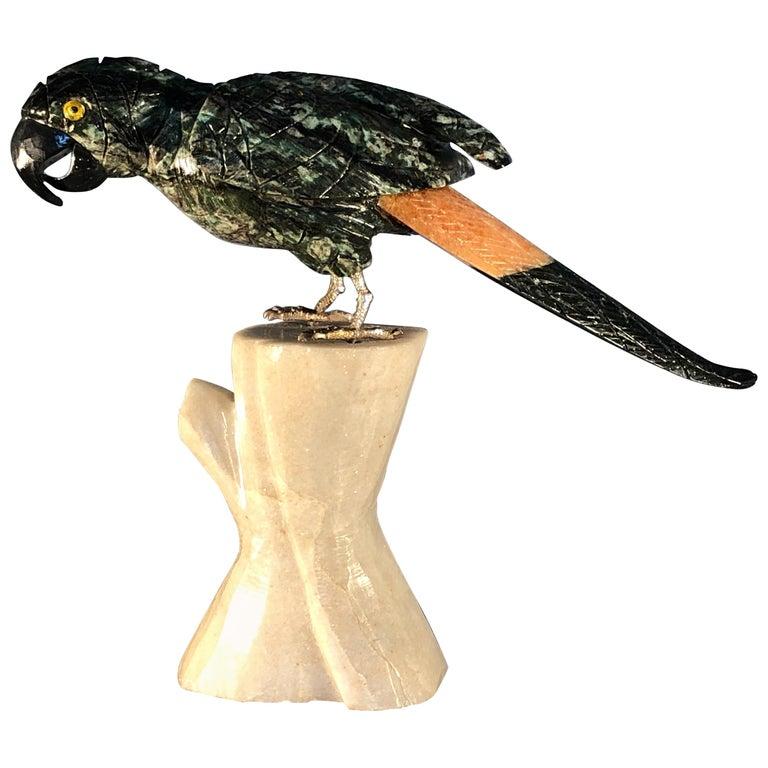 Semi Precious Gemstone Figurine Decorative Small Parrot Bird SALE  For Sale