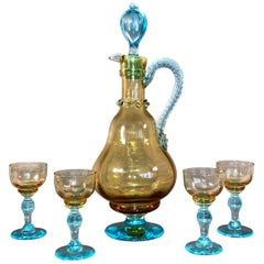 Murano Art Glass Carafe with Four Glasses Yellow and Blue, 1940s Italy SALE