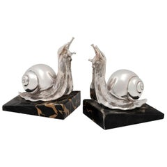 Pair of Silver Plated Snail Bookends on Marble Bases, French, circa 1920