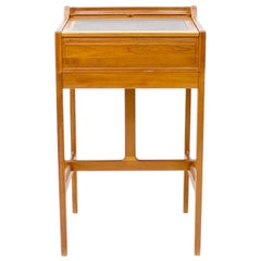 Dyrlund Stand-Up Desk in Teak and Leather, Denmark, 1960s