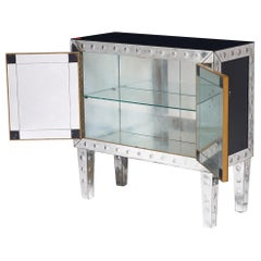 Fine Quality Etched Mirrored Glass Cocktail Cabinet, French, circa 1960