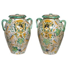 Fine Matched Pair of Hand Painted Majolica Covered Urns Italian/ Spanish