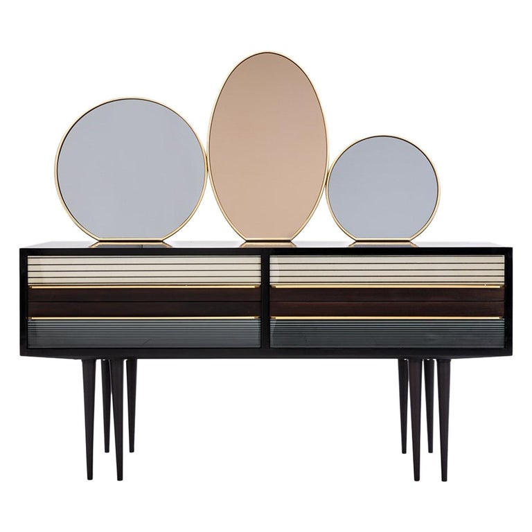 Baxter Buffet No. 2 in Rosewood with Tinted Mirrors, circa 1950 by Draga & Aurel For Sale
