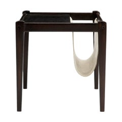 Baxter Magazine Rack in Rosewood Table with Leather Sling by Draga & Aurel