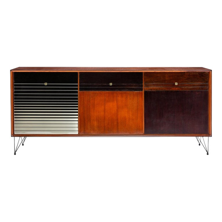 Baxter Low Cabinet No. 6 in Dark Walnut with Gradient Facade by Draga & Aurel For Sale
