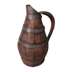 Antique 19th Century French Wooden And Copper Wine Pitcher.