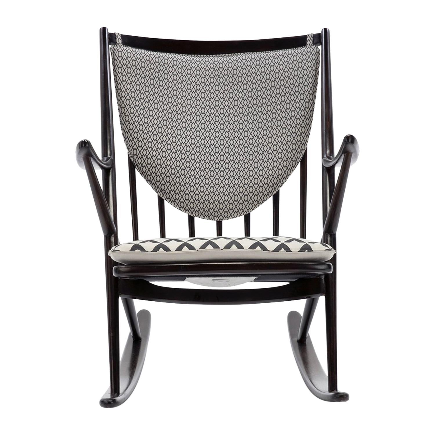 Baxter Rocking Armchair No. 1 in Rosewood and White Leather by Draga & Aurel