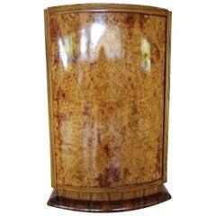 Round Elm Burl Art Deco Bar Cabinet, 1930s