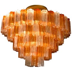 Venini Brass Mounted Gold and Ice Murano Glass Chandelier or Flush Mount, 1970
