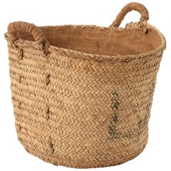 Vintage Woven Spanish Fruit Basket with Natural Fibers