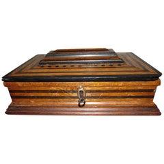 German Art Deco Wood Box or Jewelry Box with Ebonized Details