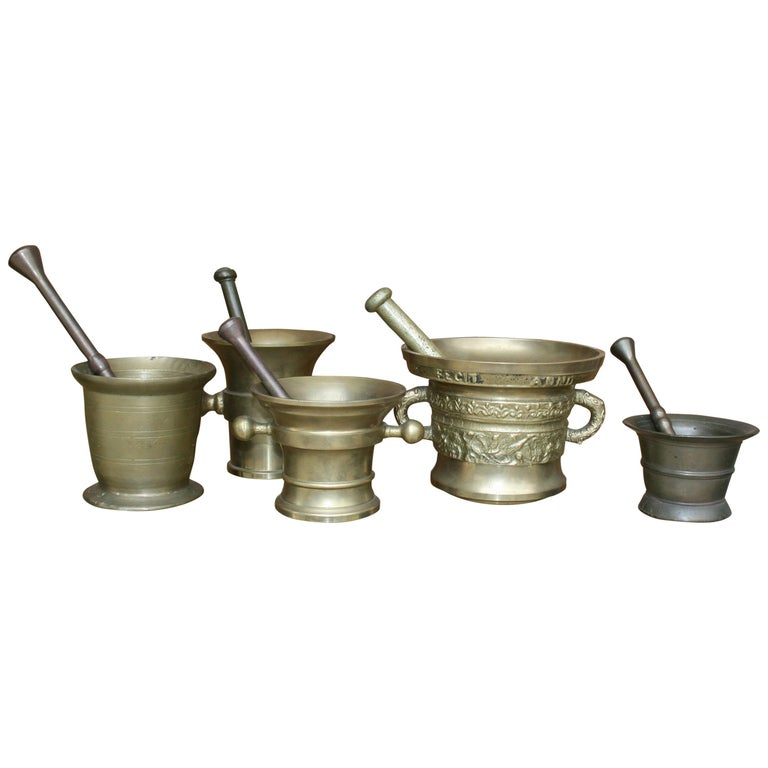 Germany Pharmacy Apothecary Mortar with Pestles, Set of 5 For Sale