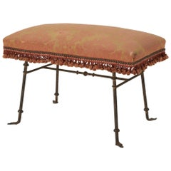 Mid-20th Century Brass Bench with Original Damask and Tassels