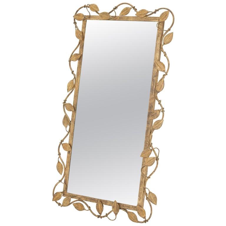 Midcentury Rectangular Mirror in Brass Leaf For Sale