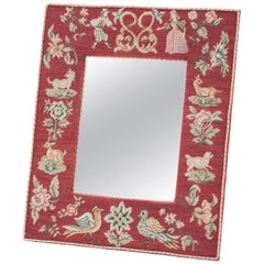 19th Century French Needlepoint Marriage Mirror