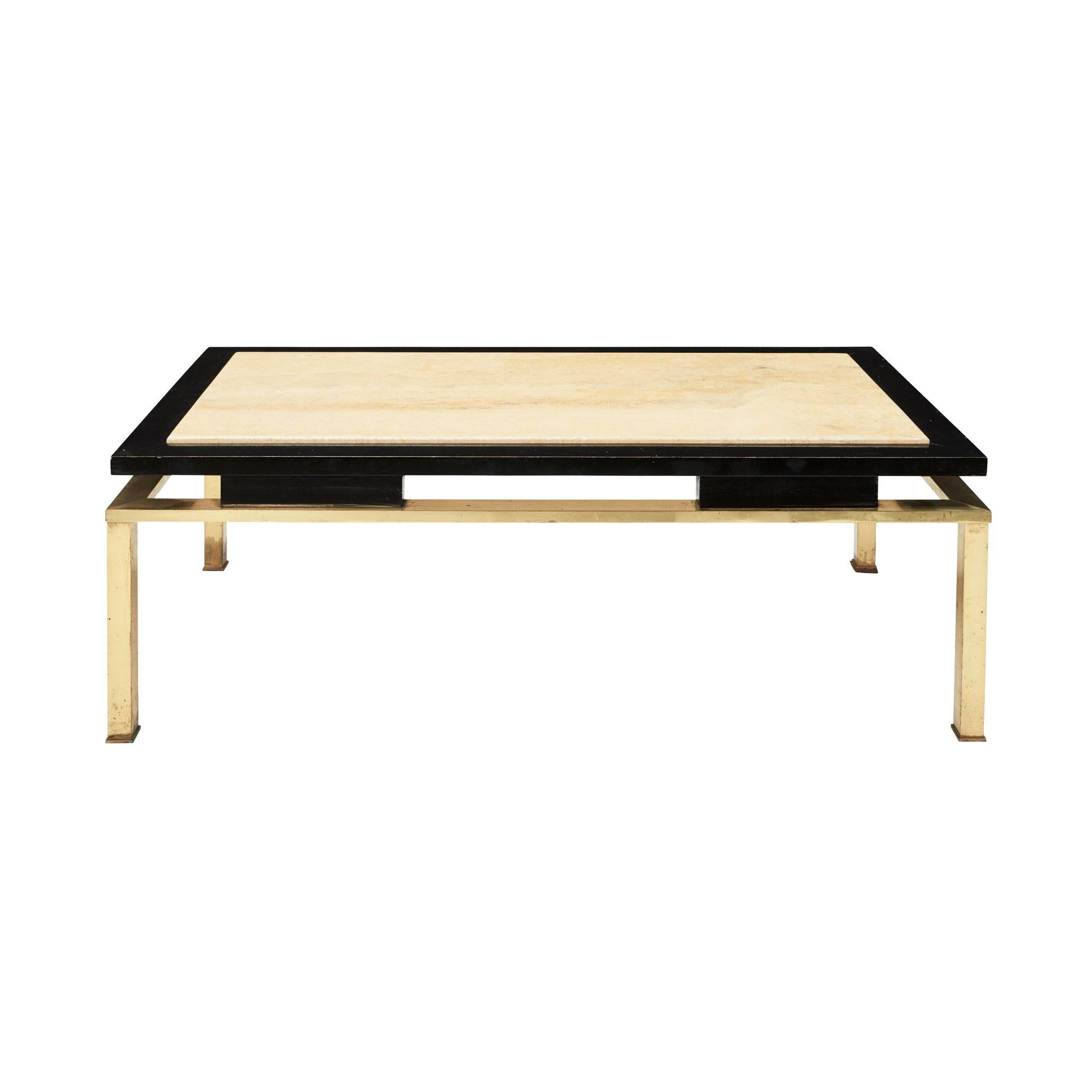 Midcentury French Lacquer Coffee Table With Brass Base And Travertine Inlay  Top
