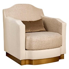 Swivel Armchair Frame Made of Solid Timber and Plywood Bronze or Silver Frame