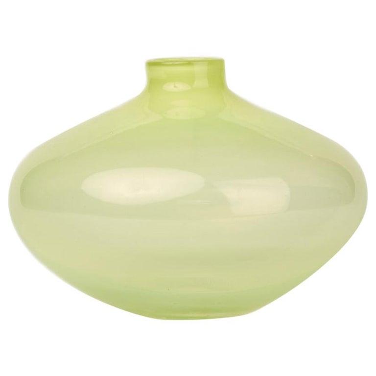 Vintage Yellow Vaseline Art Glass Vase, 20th Century For Sale