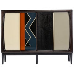 Baxter Cabinet No. 3 in Rosewood with Orange and Blue Detail by Draga & Aurel