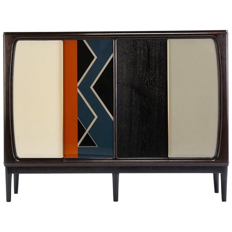 Baxter Cabinet No. 3 in Rosewood with Orange and Blue Detail by Draga & Aurel For Sale