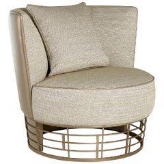 Armchair Silver or Bronze Decorative Opening at Back Frame Timber and Plywood
