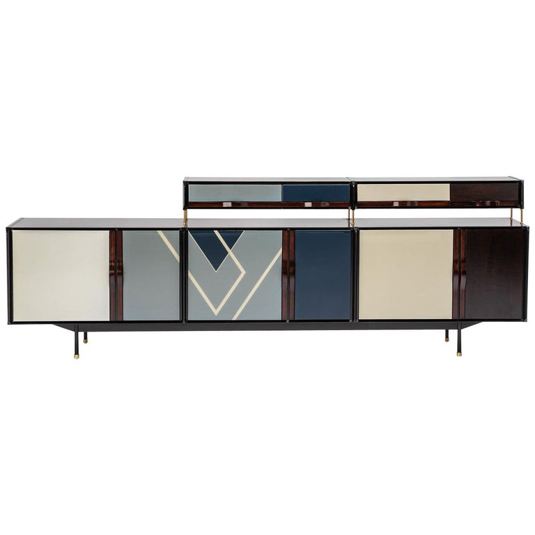 Baxter Danished inspired Credenza in Rosewood with Resin Facade by Draga For Sale