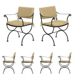 Vintage Set of Six Black Iron Patio Dining Chairs in Salterini Style