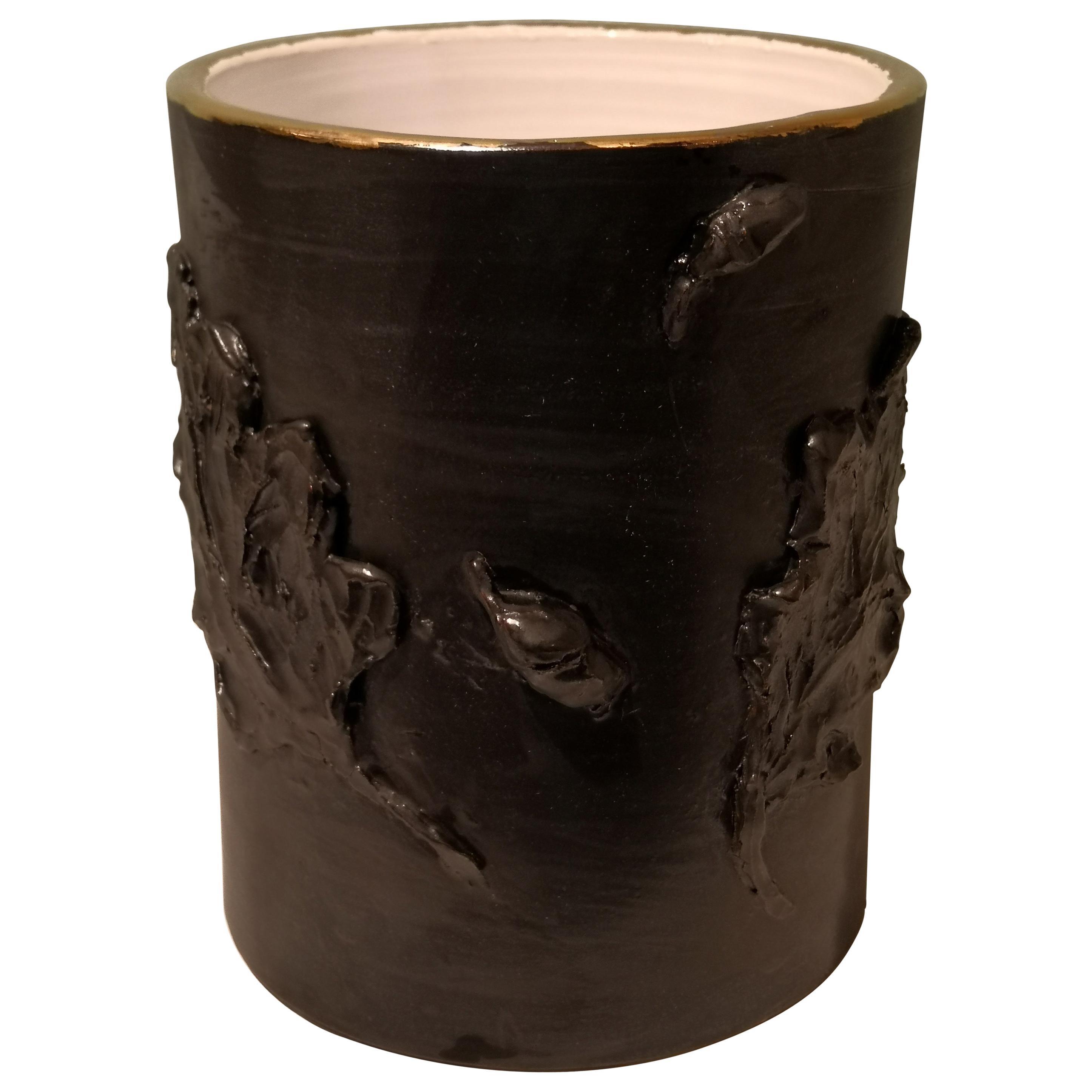 Country Style Pottery Vase Black Handmade Sofina Boutique Kitzbuehel