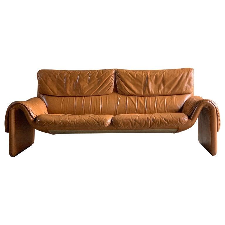 De Sede, Switzerland Cognac Leather Sofa Design No DS2011, circa 1980 For Sale