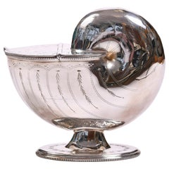 English 1930s Silver-Plated Cornucopia Spoon Warmer