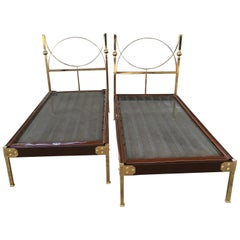 Mid-Century Modern Pair of Italian Single Beds with Gilt Headboard and Feet 1960