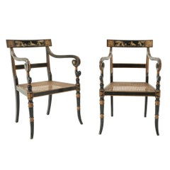 Pair of Painted Midcentury Cane Chairs by Pierre Lottier