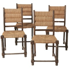 Set of 4 Midcentury Dining Chairs in Wood and Rush Fibers