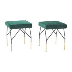 Pair of Italian Midcentury Benches with Brass Detailing