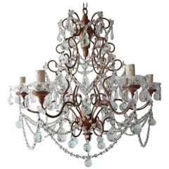 French Murano Ice Blue Balls and Crystal Swags Chandelier, circa 1920