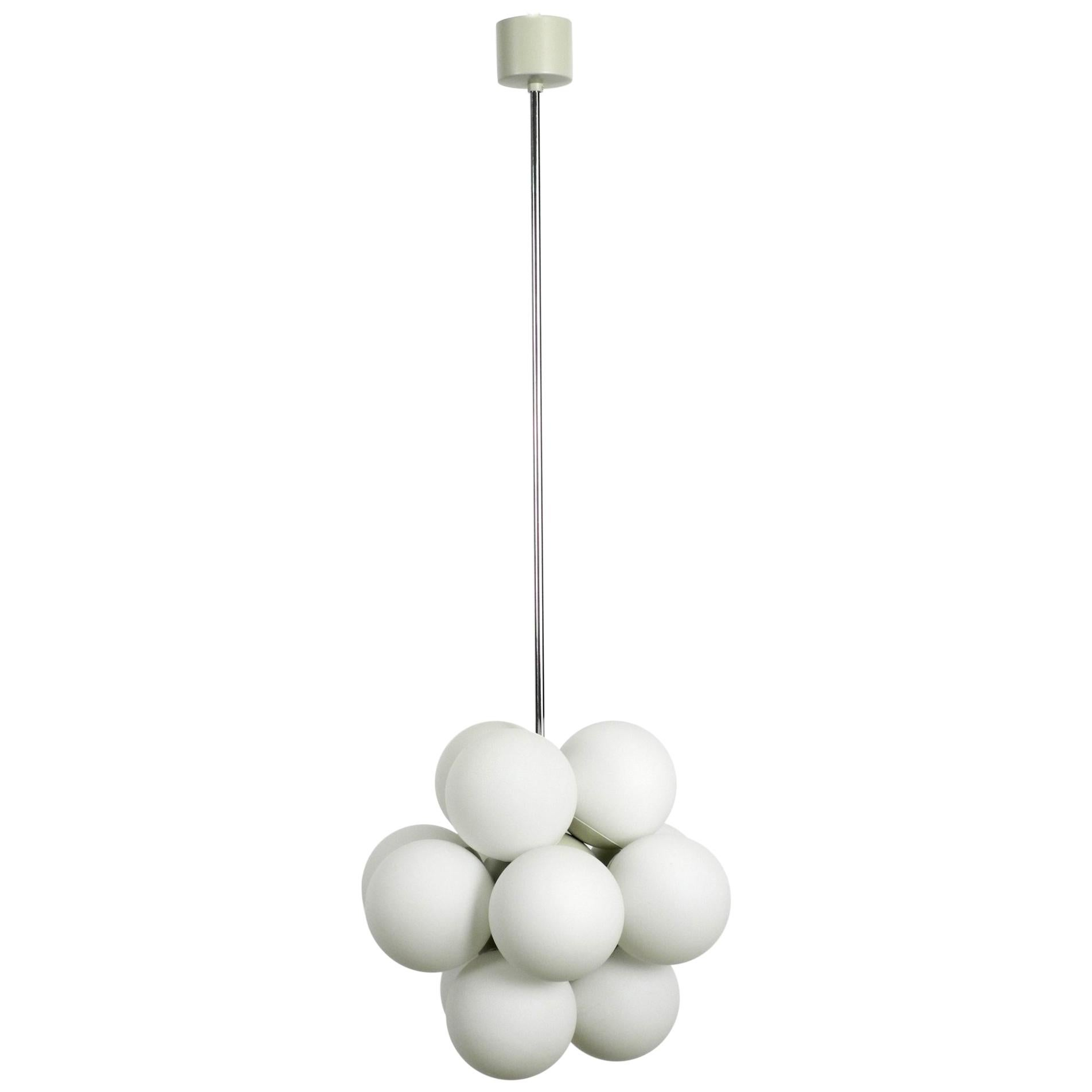 Unused 1960s Atomic Space Age Kaiser Leuchten Ceiling Lamp with 12 Glass Balls