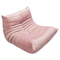 Togo Longue Chair in Pink Velvet by Michel Ducaroy, Ligne Roset