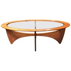 Oval Astro Midcentury Teak and Glass Coffee Table by Vb Wilkins for G-Plan
