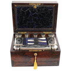 Victorian Rosewood & Sterling Silver Travelling Dressing Case 1861, 19th Century