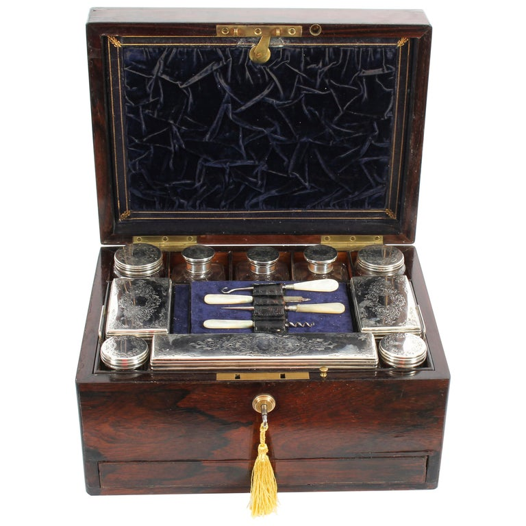 Victorian Rosewood & Sterling Silver Travelling Dressing Case 1861, 19th Century For Sale