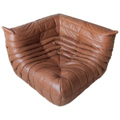 Togo Corner Couch in Kentucky Brown Leather by Michel Ducaroy by Ligne Roset